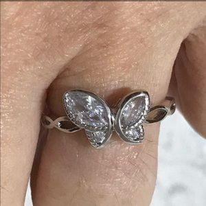 White Gold Filled Butterfly CZ Ring.